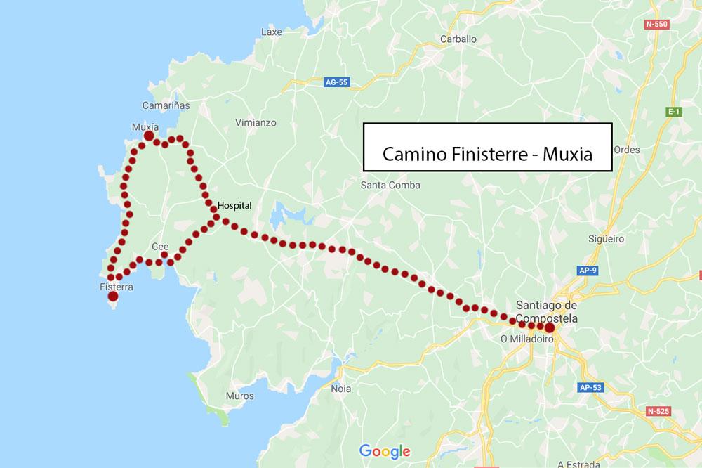 Camino-Finisterre-Muxia-de-Santiago-route-map