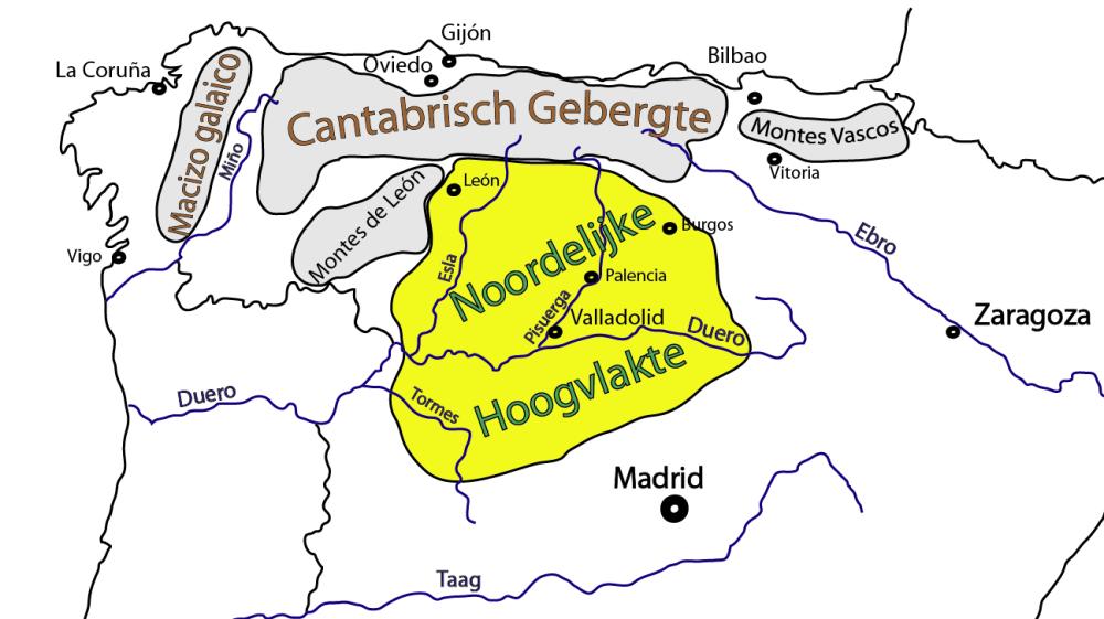 Kaart gebergten in noordwest Spanje